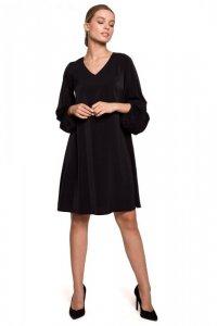 S273 Sukienka z szerokimi rękawami i dekoltem - czarna