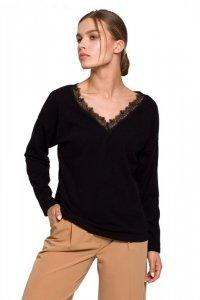 S274 Sweterek z dekoltem wykończonym koronką - czarny