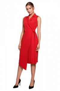 S275 Sukienka żakietowa z asymetrycznym dołem - czerwona