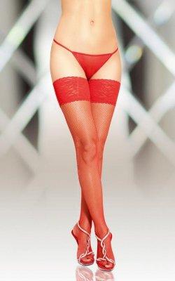 Stockings 5537 - red pończochy kabaretki do paska ze szwem