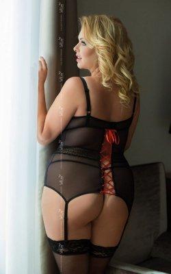 Emma - Black plus size 1850 gorset i stringi