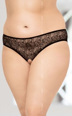 String 2467 Plus Size - Black otwarty krok