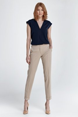 Spodnie z mankietami - beż - SD27
