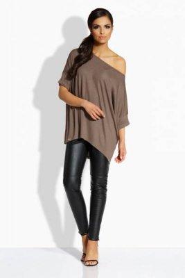 L204 Luźna elegancka bluzka capucino