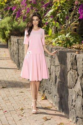 Rozkloszowana sukienka L237 pudrowy róż