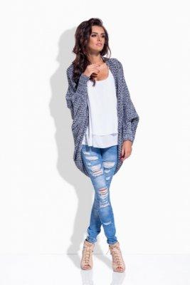 LS170 Melanżowy sweterek narzutka czarny