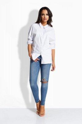 EM502 Luźna casualowa koszula z kokardką z tyłu biały