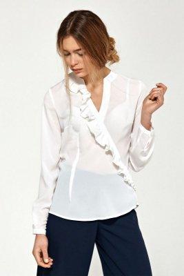 Bluzka z asymetrycznymi falbanami- ecru - B89
