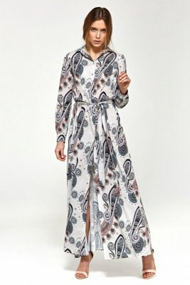 Sukienka maxi z długim rękawem - wzór - S93