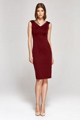 Sukienka z dekoltem w serek - bordo - CS08