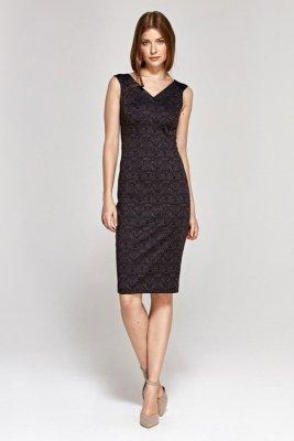 Sukienka z dekoltem w serek - wzór/bordo - CS08