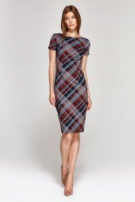 Sukienka z krótkim rękawem - krata - CS11