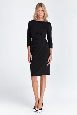 Sukienka z marszczeniami w talii - czarny - CS03