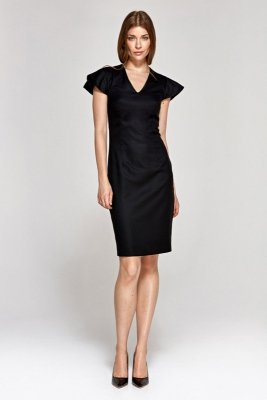 Sukienka z oryginalnymi rękawami - czarny - CS09
