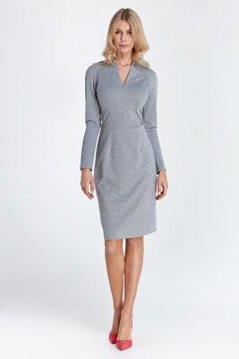 Sukienka z subtelnym dekoltem - szary - CS05