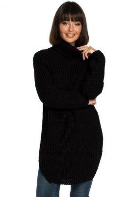 BK005 Długi sweter z golfem - czarny