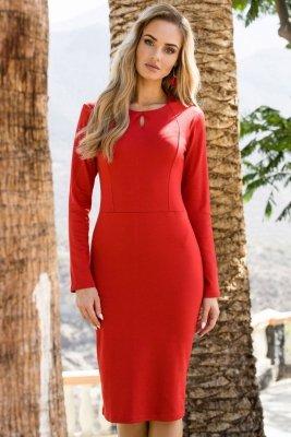 S074 Sukienka ołówkowa - czerwona