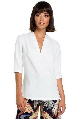 B090 Gładka bluzka w serek z lnem - biała