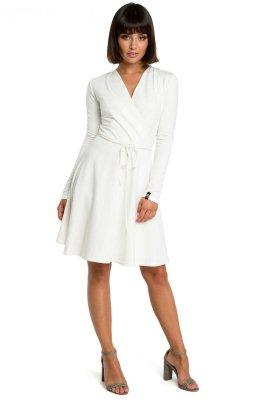 B092 Rozkloszowana sukienka z górą na zakładkę - ecru