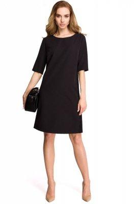 S107 Sukienka z lampasem z koronki - czarna