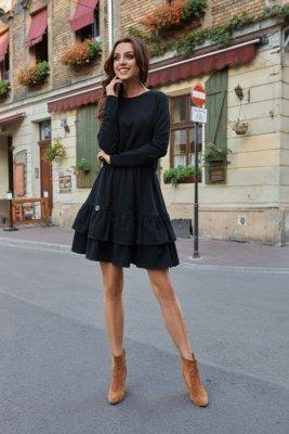 Casualowa sukienka z długim rękawem L273 czarny