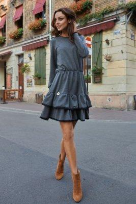 Casualowa sukienka z długim rękawem L273 grafit