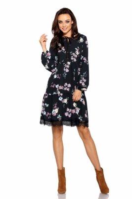 Trapezowa sukienka z nadrukami L288 czarny w kwiatki