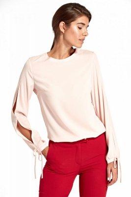 Bluzka z wycięciami na rękawach - róż - B95