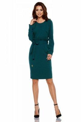 Biznesowa sukienka z paskiem L289 ciemna zieleń