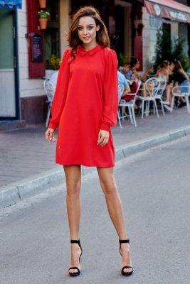 Elegancka sukienka z szyfonowymi rękawkami L265 czerwony