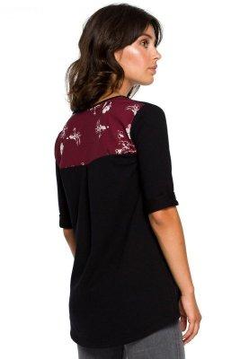 B095 Bluzka ze wstawkami w kwiaty - czarna