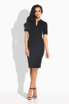 1 L191  Sukienka z guziczkami czarna PROMO
