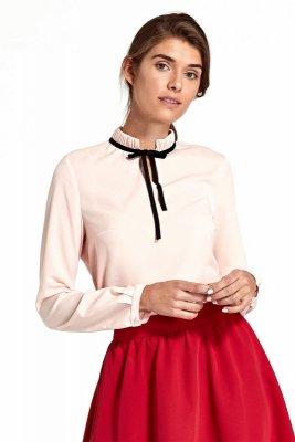 Bluzka ze stójką i tasiemką na szyi - róż - B92