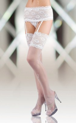 1 Stockings 5512 - white PROMO pończochy z pasem