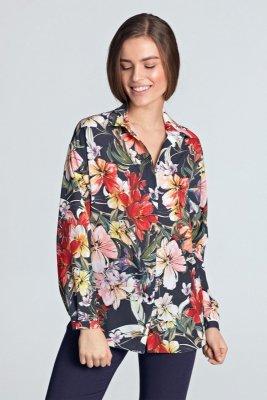 Koszula oversize - kwiaty/granat - K53