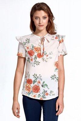 Bluzka cb21 - kwiaty/ecru - CB21