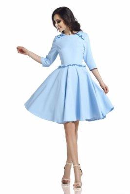 Kobieca sukienka z falbankami L291 błękitny