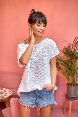 BK020 Bluzka sweterkowa z palmą - biały