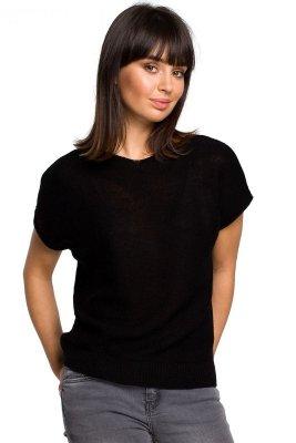 BK021 Bluzka sweterkowa z dekoltem na plecach - czarna