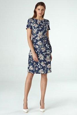 Sukienka cs30 - kwiaty/granat - CS30