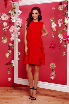 Sukienka bez rękawów z falbanami L298 czerwony