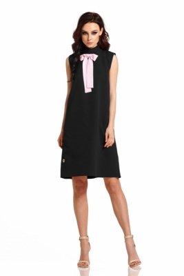 Sukienka z kokardą przy szyi L296 czarny