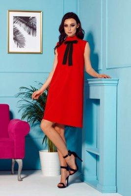 Sukienka z kokardą przy szyi L296 czerwony