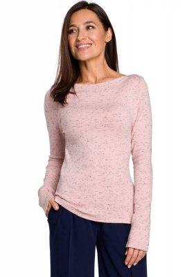 S148 Sweter dopasowany - różowy