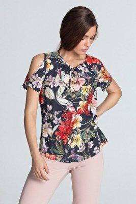 Bluzka z wycięciami na ramionach - kwiaty/granat - B99