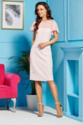 Elegancka sukienka z szyfonowymi rękawami i dekoltem L299 pudrowy róż