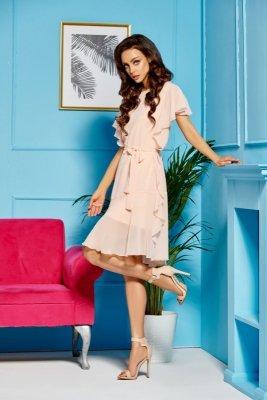 Sukienka z szyfonem i falbankami L303 łosoś