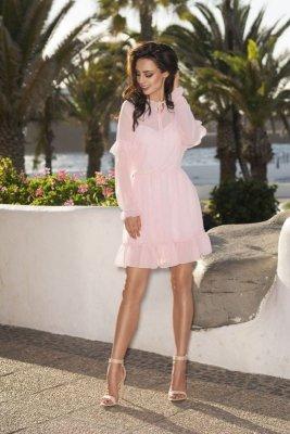 1 Zwiewna sukienka L240 pudrowy róż PROMO