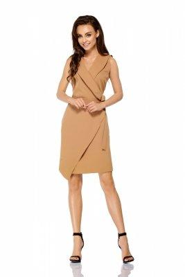 Sukienka kopertowa wiązana w pasie bez rękawów L308 kamel