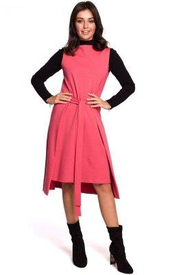 B126 Sukienka tunika bez rękawów - koralowa